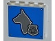 Part No: 60581pb008  Name: Panel 1 x 4 x 3 with Side Supports - Hollow Studs with Dog Head and Silver Police Badge on Blue Background Pattern (Sticker) - Set 4441