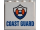Part No: 60581pb176  Name: Panel 1 x 4 x 3 with Side Supports - Hollow Studs with Blue 'COAST GUARD' and Logo Pattern (Sticker) - Set 60167