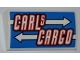 Part No: 61068pb006  Name: Slope, Curved 2 x 4 x 2/3 without Bottom Tubes with 'CARLS CARGO' and White Arrows Pattern (Sticker) - Set 8198