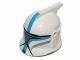 Part No: 61189pb16  Name: Minifigure, Headgear Helmet SW Clone Trooper with Holes, Dark Azure Markings and Silver Visor Pattern (Clone Trooper Lieutenant)