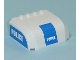 Part No: 61484pb002  Name: Windscreen 5 x 6 x 2 Curved Top Canopy with 4 Studs with White 'POLICE' on Blue Pattern on Front and Both Sides (Stickers) - Set 7743