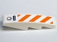 Part No: 61678pb015  Name: Slope, Curved 4 x 1 with Orange and White Diagonal Stripes Pattern (Sticker) - Set 7738