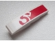 Part No: 61678pb058  Name: Slope, Curved 4 x 1 with Red '5' Pattern (Sticker) - Set 60025