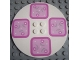 Part No: 6177pb001  Name: Tile, Round 8 x 8 with 4 Pink Floral Placemats Pattern (Stickers) - Set 5895