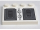 Part No: 6179pb035  Name: Tile, Modified 4 x 4 with Studs on Edge with Black Vents on Gray, White Background Pattern (Sticker) - Set 7676