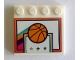 Part No: 6179pb189  Name: Tile, Modified 4 x 4 with Studs on Edge with Basketball and Backboard with Stars Pattern (Sticker) - Set 41312