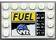 Part No: 6180pb055  Name: Tile, Modified 4 x 6 with Studs on Edges with 'FUEL', Globe and White 'WR' World Racers Logo Pattern (Sticker) - Set 8899
