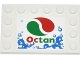 Part No: 6180pb063  Name: Tile, Modified 4 x 6 with Studs on Edges with Bubbles and Octan Logo Pattern (Sticker) - Set 4207