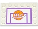 Part No: 6180pb074  Name: Tile, Modified 4 x 6 with Studs on Edges with Basketball Backboard with Ball and 'HLC' Pattern (Sticker) - Set 41005