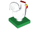 Part No: 6312c01pb01  Name: Duplo Chicken, Rooster Tail, Lobe Comb, on Green Base