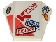 Part No: 64225pb036  Name: Wedge 4 x 3 No Studs with 'ninja', 'ninjago', 'Dragon', Red Ninjago Logogram 'FIRE' and Coral Triangles Pattern (Stickers) - Set 71707