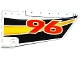 Part No: 64682pb016  Name: Technic, Panel Fairing #18 Large Smooth, Side B with Red '96' and Yellow, Orange and White Stripes on Black Background Pattern (Sticker) - Set 42044