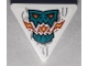 Part No: 65676pb002  Name: Road Sign 2 x 2 Triangle with Open O Clip with Dark Turquoise Skull Breathing Flames with Orange and Yellow Eyes Pattern (Sticker) - Set 71747