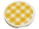 Part No: 67095pb008  Name: Tile, Round 3 x 3 with Bright Light Orange and White Checkered Pattern (Sticker) - Set 41444