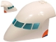Part No: 67241c01pb001  Name: Aircraft Fuselage Forward Top Curved 8 x 12 x 6 with 6 Window Panes and Trans-Light Blue Glass with Orange and Blue Stripes Pattern on Both Sides (Stickers) - Set 60262