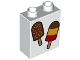 Part No: 76371pb011  Name: Duplo, Brick 1 x 2 x 2 with Bottom Tube with 2 Ice Cream Pops Pattern
