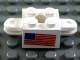 Part No: 792c03pb02  Name: Arm Holder Brick 2 x 2 with Hole and 2 Arms with American Flag Pattern (Sticker) - Sets 367-1 / 565-1