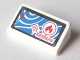 Part No: 85984pb173  Name: Slope 30 1 x 2 x 2/3 with Red Crosshairs, Flame and Triangle on Blue Background Pattern (Sticker) - Set 60005