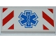 Part No: 87079pb0101  Name: Tile 2 x 4 with Red and White Danger Stripes and EMT Star of Life Pattern (Sticker) - Set 4429