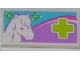 Part No: 87079pb0132  Name: Tile 2 x 4 with White Horse Head and Lime Cross Pattern (Sticker) - Set 3188