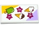 Part No: 87079pb0205  Name: Tile 2 x 4 with Ice Cream Cones and Ice Pop (Freezer / Lollipop / Lolly / Pole / Popsicle / Stick) Menu Pattern (Sticker) - Set 41094