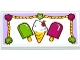 Part No: 87079pb0206  Name: Tile 2 x 4 with Ice Cream Cone, Popsicles and Rope Trim with Shells and Star Pattern (Sticker) - Set 41094
