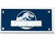 Part No: 87079pb0241  Name: Tile 2 x 4 with Jurassic World Logo, Rivets and Silver Corrosion Pattern (Sticker) - Set 75920