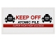 Part No: 87079pb0266  Name: Tile 2 x 4 with Black Skulls and Crossbones, Red 'KEEP OFF', Black 'ATOMIC PILE' and White 'SUPER HIGH HIGH VOLTAGE' Pattern (Sticker) - Set 76052