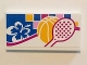 Part No: 87079pb0315  Name: Tile 2 x 4 with White and Blue Flower, Basketball and Tennis Racket Pattern (Sticker) - Set 41058