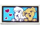 Part No: 87079pb0372  Name: Tile 2 x 4 with 2 Dogs and 3 Magenta Hearts on Medium Azure Background Pattern (Sticker) - Set 41124