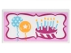 Part No: 87079pb0385  Name: Tile 2 x 4 with Sign with 2 Balloons, Birthday Cake with 7 Candles in Magenta and Bright Pink Frame Pattern (Sticker) - Set 41132