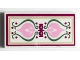 Part No: 87079pb0700  Name: Tile 2 x 4 with Bright Pink Crest and Sand Green Scrollwork Pattern (Sticker) - Set 41068