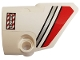 Part No: 87086pb052  Name: Technic, Panel Fairing # 2 Small Smooth Short, Side B with Red and Silver Stripes and 'NO STEP' Pattern (Sticker) - Set 42057