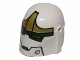 Part No: 87610pb06  Name: Minifigure, Headgear Helmet with Holes, SW Bounty Hunter with Jaw and Dark Green and Olive Green Pattern