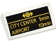 Part No: 88930pb046  Name: Slope, Curved 2 x 4 x 2/3 with Bottom Tubes with Yellow Train Logo, 'CITY CENTER 5min' and 'AIRPORT 10min' Pattern (Sticker) - Set 60050