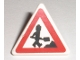 Part No: 892pb016  Name: Road Sign 2 x 2 Triangle with Clip with Minifigure Worker and 1 Pile Pattern (Sticker) - Set 7631