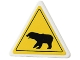 Part No: 892pb019  Name: Road Sign 2 x 2 Triangle with Clip with Black Bear Pattern (Sticker) - Set 4436