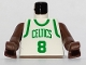Part No: 973bpb183c01  Name: Torso NBA Boston Celtics #8 (White Jersey) Pattern / Brown NBA Arms