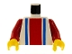 Part No: 973p01c02  Name: Torso Vertical Striped Red/Blue Pattern / Red Arms / Yellow Hands