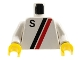Part No: 973p14c01  Name: Torso Town 'S' Logo Red / Black Pattern / White Arms / Yellow Hands