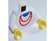 Part No: 973p71c01  Name: Torso Necklace Red and Blue Undershirt Pattern / White Arms / Yellow Hands