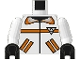 Part No: 973p8bc01  Name: Torso Res-Q Orange Stripes, Pockets, Back Logo Pattern / White Arms / Black Hands