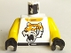 Part No: 973pb0051c01  Name: Torso Racers Race Tiger Pattern / Yellow Arms / Black Hands