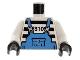 Part No: 973pb0055c01  Name: Torso Jail Stripes with Medium Blue Overalls Pattern / White Arms / Black Hands