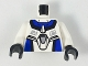 Part No: 973pb0189c01  Name: Torso Exo-Force Blue Panels with Black Edges with Dark Gray Badge Pattern / White Arms / Black Hands