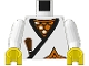 Part No: 973pb0240c02  Name: Torso Castle Ninja Wrap, Brown Dagger, Gold Star, Gold Scale Mail Pattern / White Arms / Yellow Hands