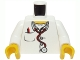 Part No: 973pb0408c01  Name: Torso Hospital Lab Coat, Open Collar, Stethoscope, Pocket Pen and Thermometer Pattern / White Arms / Yellow Hands