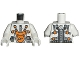 Part No: 973pb0435c01  Name: Torso Space Mars Mission Astronaut with Orange and Silver Pattern / White Arms / White Hands