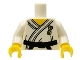 Part No: 973pb0719c01  Name: Torso Karate Uniform with Black Belt Pattern / White Arms / Yellow Hands