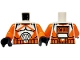 Part No: 973pb0760c01  Name: Torso SW Armor Clone Trooper with Orange Markings Pattern (Clone Wars) / Orange Arms / Black Hands